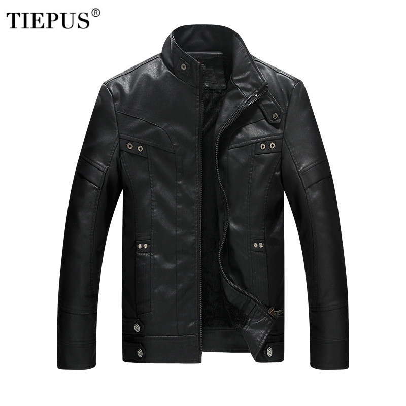 TIEPUS winter new business leather jacket mens stand collar Slim PU wash locomotive leather high quality jacket