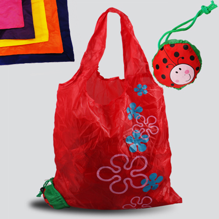 Ladybug Shopping bag, Environment Eco-friendly folding reusable Portable Shoulder handle Bag Polyester for Travel Grocery solar shaking little duck environment friendly ornamentation