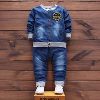 Autumn Autumn Baby Boy Clothes Solid Long Sleeve Single Breasted Top Pants 2pcs Cowboy Suit Baby