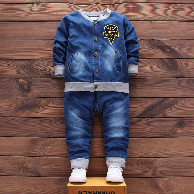 autumn Autumn baby boy clothes solid Long sleeve single breasted Top + pants 2pcs denim suit baby clothing sets newborn clothes single boy