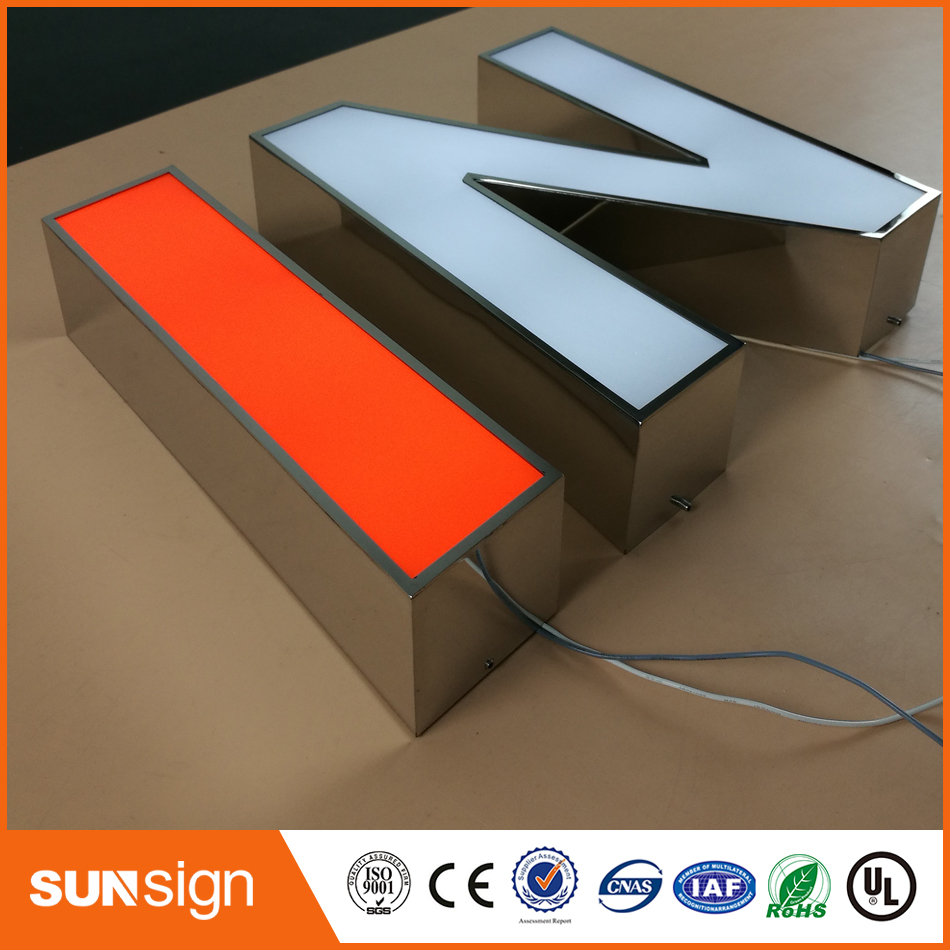 Wholesale Stainless Steel Sign Illumination 3d Channel Letters Acrylic Surface Sign For Outdoor Commercial Light Signs