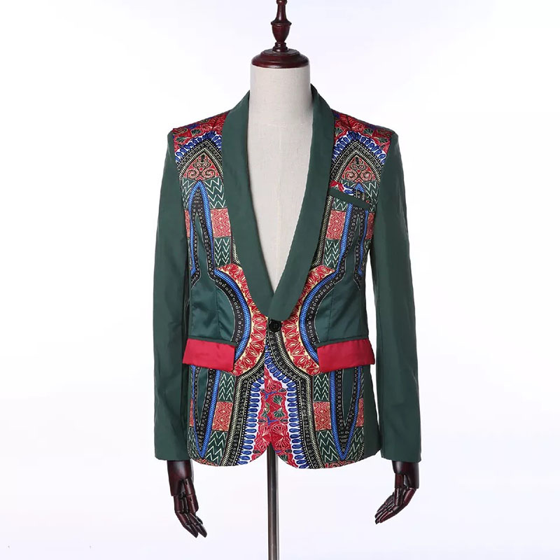 Fashion Men African Dashiki Ethnic Floral Print Blazer Coat Ankara Slim Green One Button Notched Pocket Outwear Jacket Suit