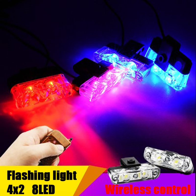 4x2 8LED Wireless Remote 12V Automobiles Car Strobe Warning light Flashing Flasher DRL Ambulance Emergency Police day lights