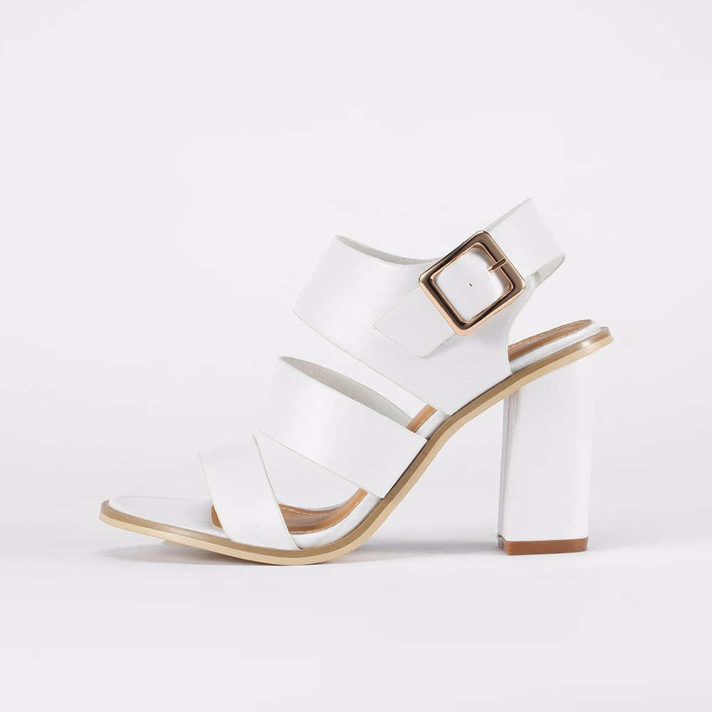 ElisabetTang Block High Heels White Sandals Gladiator Strap Shoes For Summer Sexy Cut Outs Roman Sandals Ladies Party Wedding