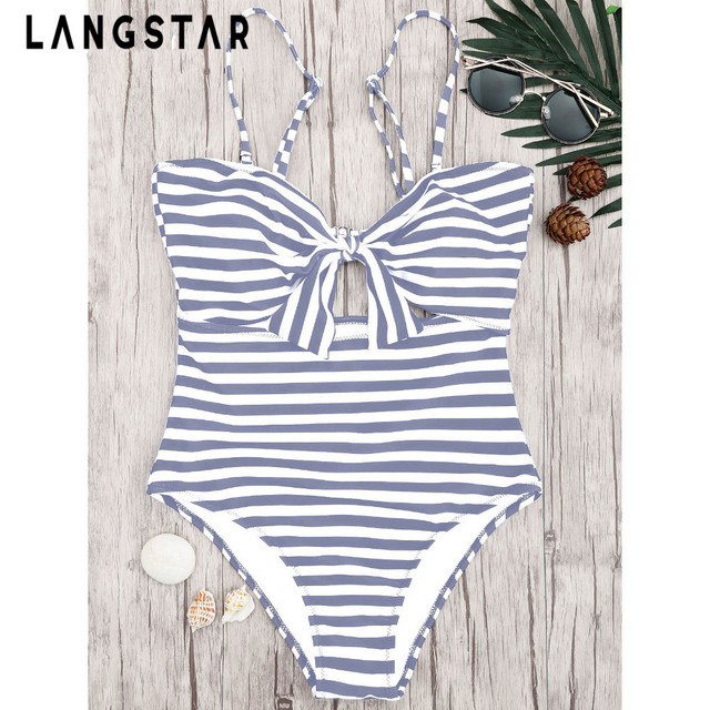 f096ca5707 LANGSTAR Striped Knot Front Cut out One Piece Swimsuit Print High Waisted  Monochrome Optional Knot Front Tummy Control Swimwear