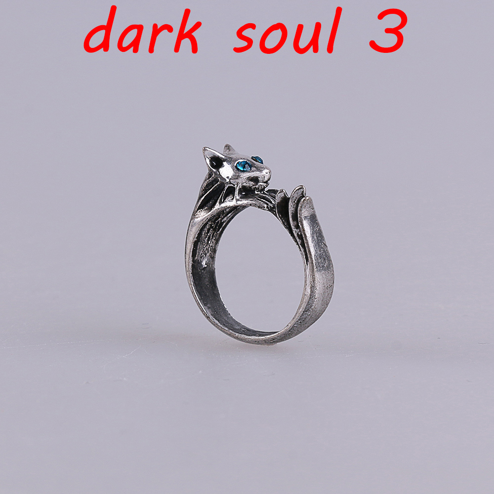 Dark Souls 3 Metal Rings Silver Cat Cosplay Ring Accessories Woman Man Ring High Quality image