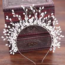 TUANMING Fashion Silver Hair Jewelry Crystal Hairbands Pearl Headband Wedding Bride Hair Accessories Women Tiaras And Crowns