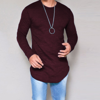 Solid Long Sleeve Men T Shirt 1