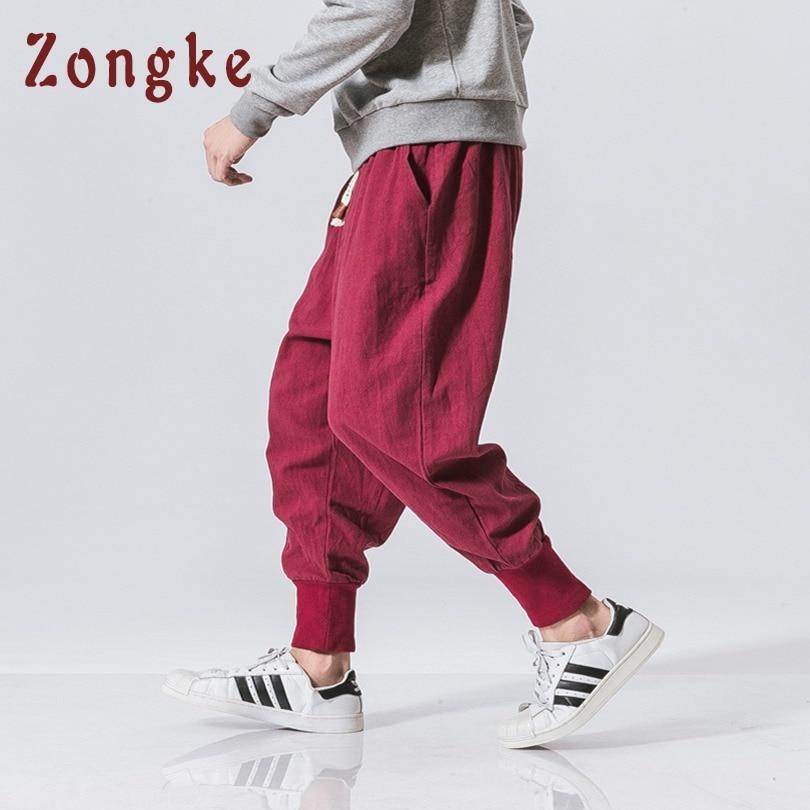 0ad4e65ca Men's Clothing Zongke Chinese Style Cotton Streetwear Calf-length Pants Men  Hip Hop Trousers Men Pants Joggers Sweatpants Harem Pants Men 2019 High  Quality ...