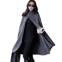 New Women Hooded Cloak Coat Bat Sleeve Long Poncho Cape Coat Woolen Shawl Plus Size Irregular Ponchoes