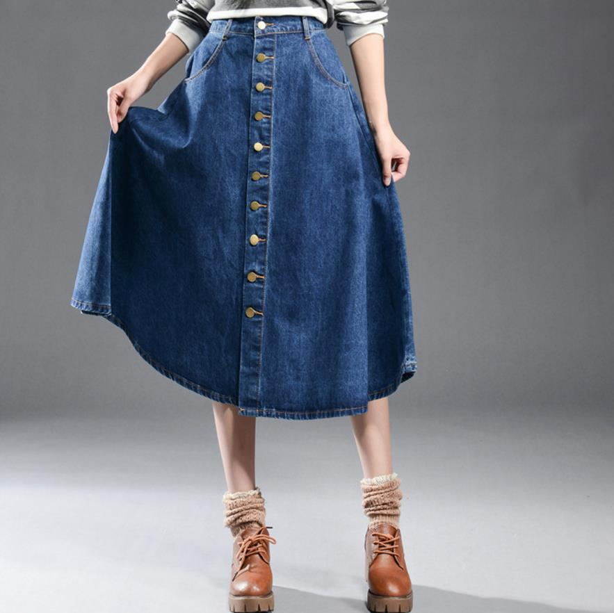 94b208b3f Nuevas faldas Largas de mezclilla faldas Largas 7xl botón Mujer moda ...