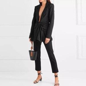 Image 3 - TWOTWINSTYLE レースアップ女性のセクシーな V ネック長袖黒ブレザー女性のコート春の秋のファッション OL 服 2020