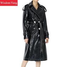 Черная Натуральная Овчина натуральная кожа пальто женские лакированные ветровки длинные офисные женские элегантные пальто Тренч Верхняя одежда