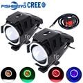 2 pcs Motocicleta LED Farol Nevoeiro Luz Com Interruptor LED CREE Chip U7 125 W 3000LM Devil Angel Eye DRL Daytime Running Luz Spot