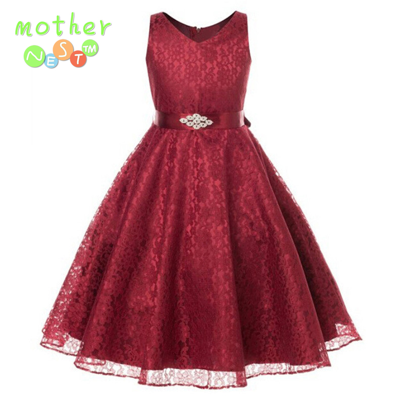 girls party wear dress kids 2017 summer sleeveless lace girls princess wedding dress teenagers kids party prom gowns 4 - 12years pageant girls party wear dress kids flower lace children girls elegant ceremonies wedding birthday dresses teenagers prom gowns