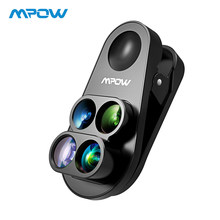 Mpow 4-in-1 HD Camera Dual&Single Phone Lens 0.65X Wide Angle + 10X Macro Lens +160 Degree Fisheye Lens For iphone 8 7 6 6S(China)