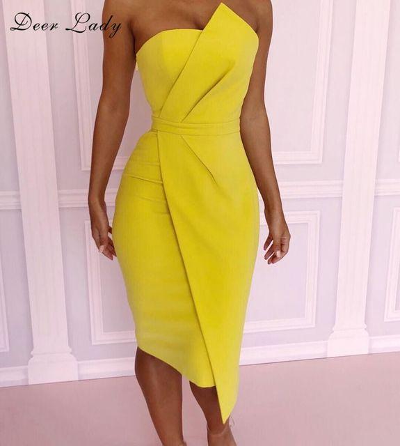 Deer Lady Summer Bodycon Dress 2018 Yellow