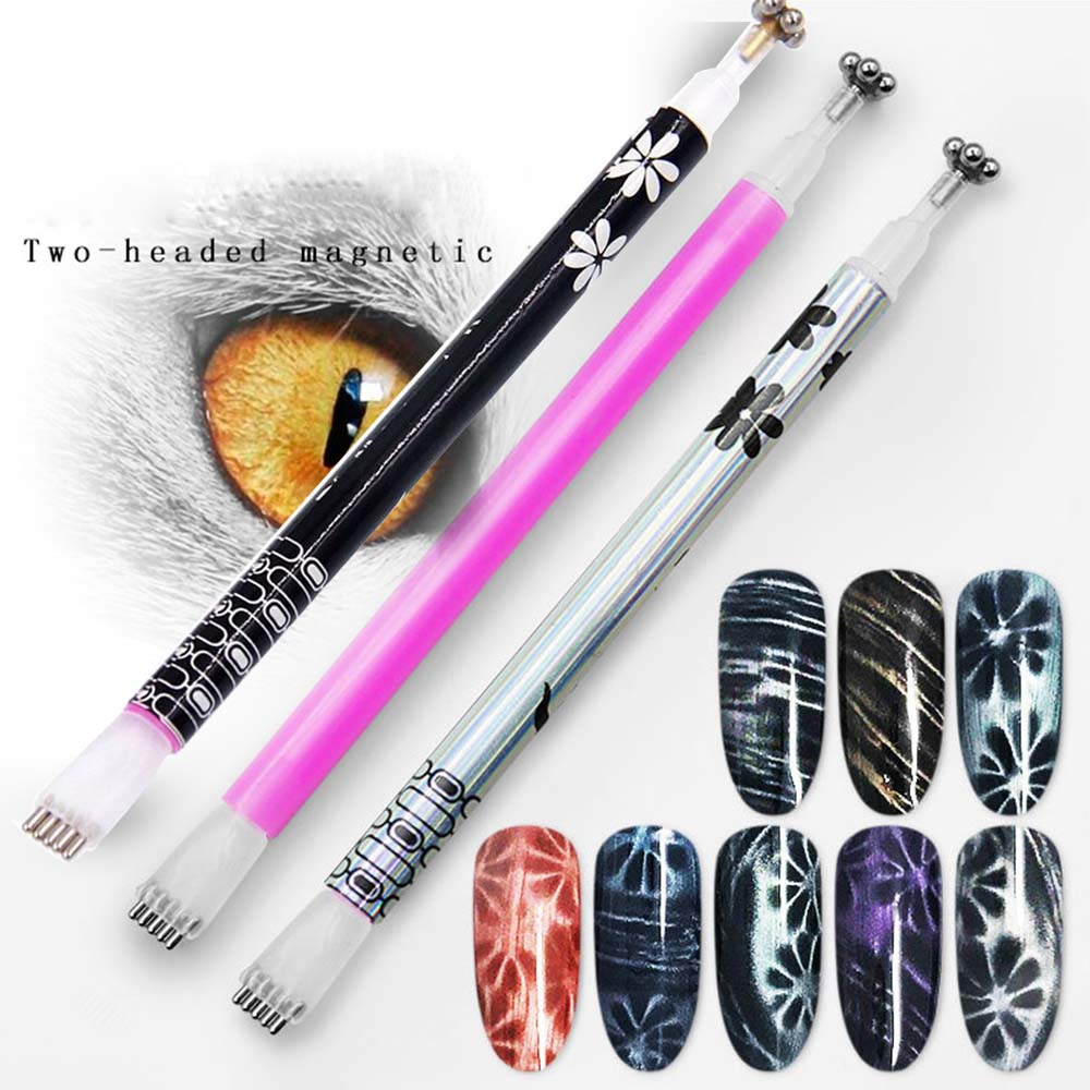 Nail Art Cat Eyes Magnet Stick Double Headed Magnet for Nail Gel Polish 3D Line Strip Effect Strong Magnetic Pen Tools