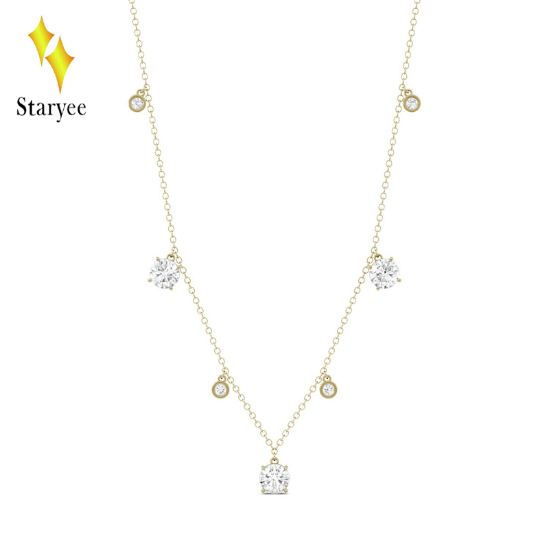 Moissanite GH Color 18K Solid Yellow Gold Round Cut Pendant With 18K Gold Chain Necklace For Women Fine Jewelry yoursfs heart necklace for mother s day with round austria crystal gift 18k white gold plated