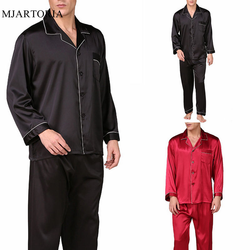 Sleepwear Men Pants Nightwear Pajama-Sets Silk Sexy Lounge Casual Solid Stain Full Loose