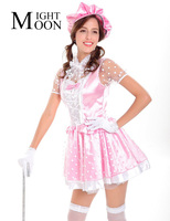 MOONIGHT Sexy French Maid Costume Sweet Gothic Lolita Dress Cosplay Sissy Maid Uniform Halloween Costumes for Women