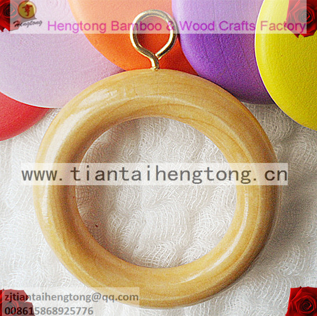 Lotus-Wood Circle/curtain-Ring-Holder 10pcs with Hook-Light Brown Color WC040 56mm