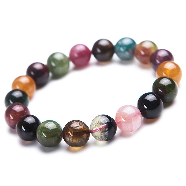 11mm Natural Colorful Tourmaline Gems Crystal Round Beads Bracelet For Women Transparent Stretch Charm Bracelet Femme