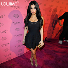 Sexy Red Carpet Gown Couture Black Kim Kardashian Dress Evening Celebrity Dresses Women Prom Party Robe 2015 Hot Sale Style