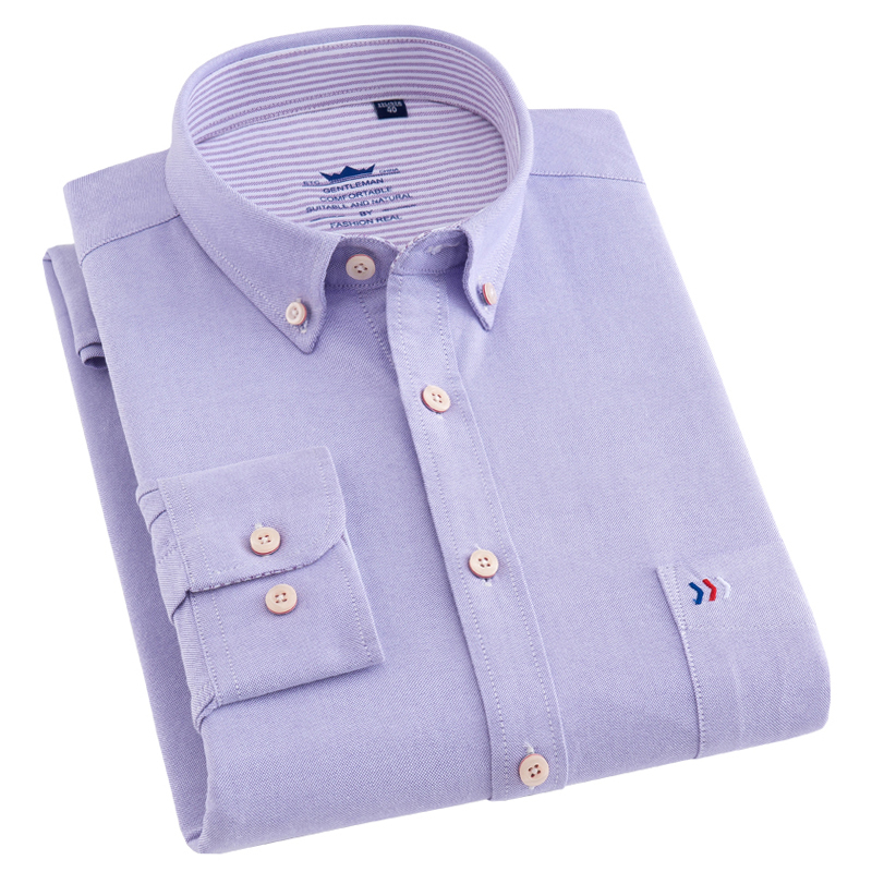 100% Pure Cotton New Design 2018 Spring Oxford Business Men Dress Shirts Long Sleeve Solid Color Button-down Collar Men Shirts