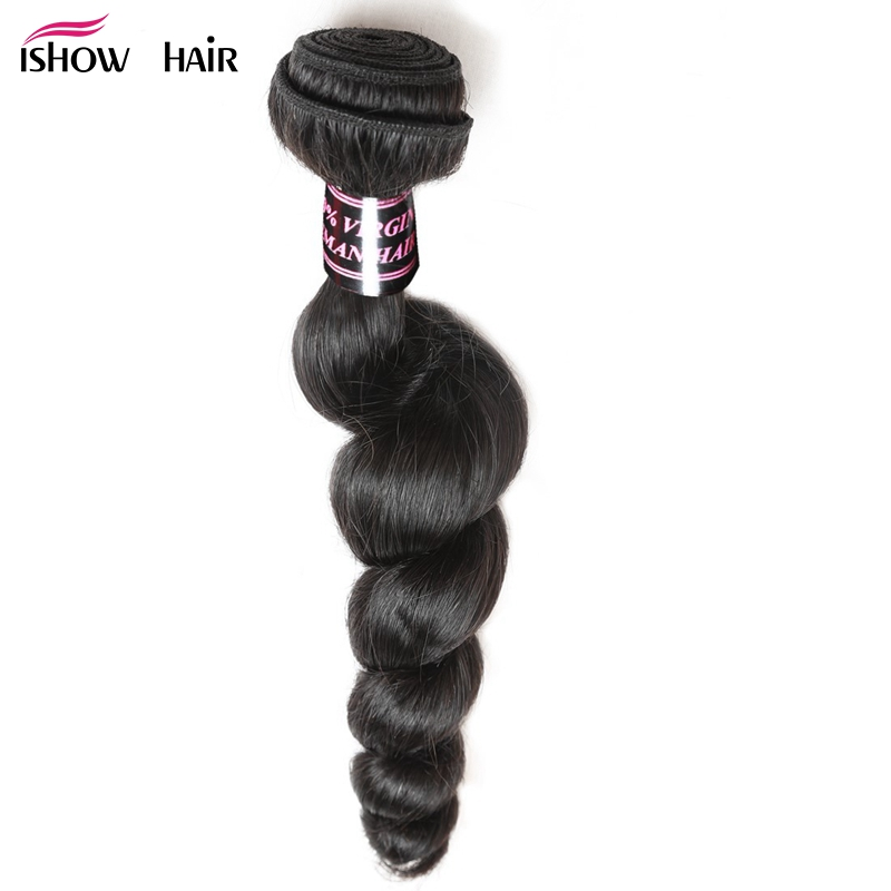 Ishow Indian Loose Wave Hair Bundles 1 Piece 100% Human Hair Weave Non-Remy Hair Natural Color Can Be Dyed Hair Extensions