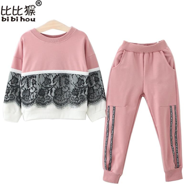 2017 Autumn Girls lace clothing set children Tracksuits Sweatshirts Top+Pants 2pcs suits kids christmas toddler girl clothing