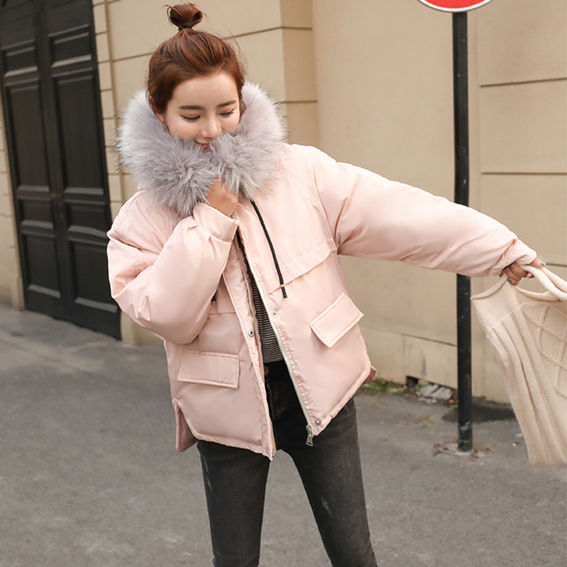 036ba4f6942 2018 New Woman Winter Coats And Jackets Slim Long Sleeve Thick Big Fur  Collar Hooded Size S-XL Parkas Pink Caramel Jacket Casaco