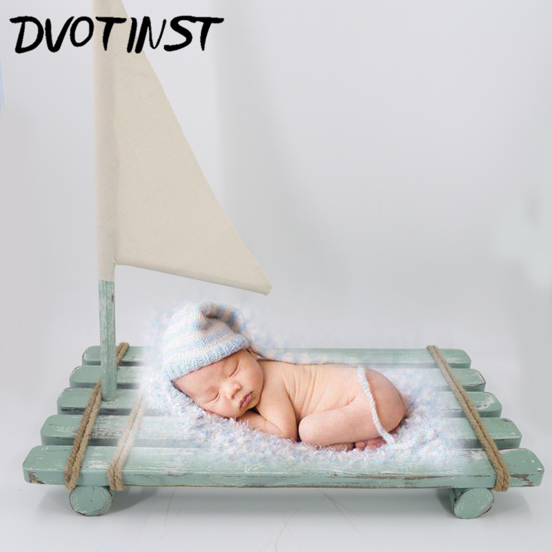 Dvotinst Newborn Baby Photography Props Wooden Bed Flag Sailboat Fotografia Decoration Infant Toddler Studio Shooting Photo Prop