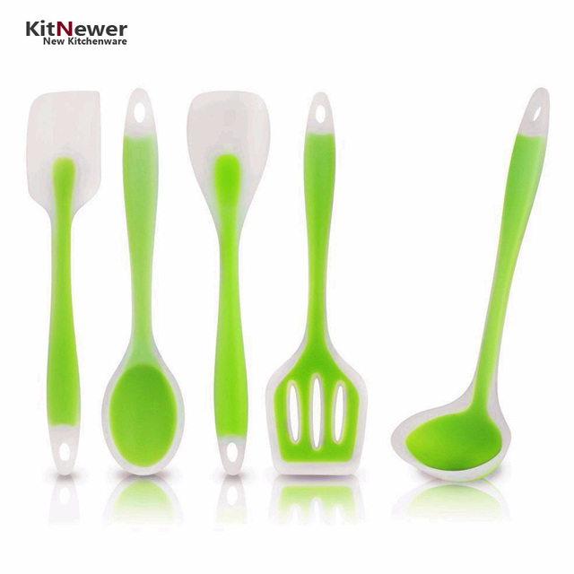 Walfos 5 Piece Silicone Cooking Utensils Set Spoon Turner Spatula Soup Ladle Kitchen