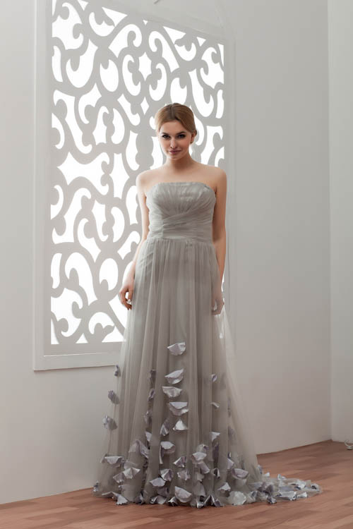 Charming Grey Appliques Tulle   Bridesmaid     Dresses   with Long Train Sexy Wedding Party   Dresses   Robe Demoiselle D'honneur