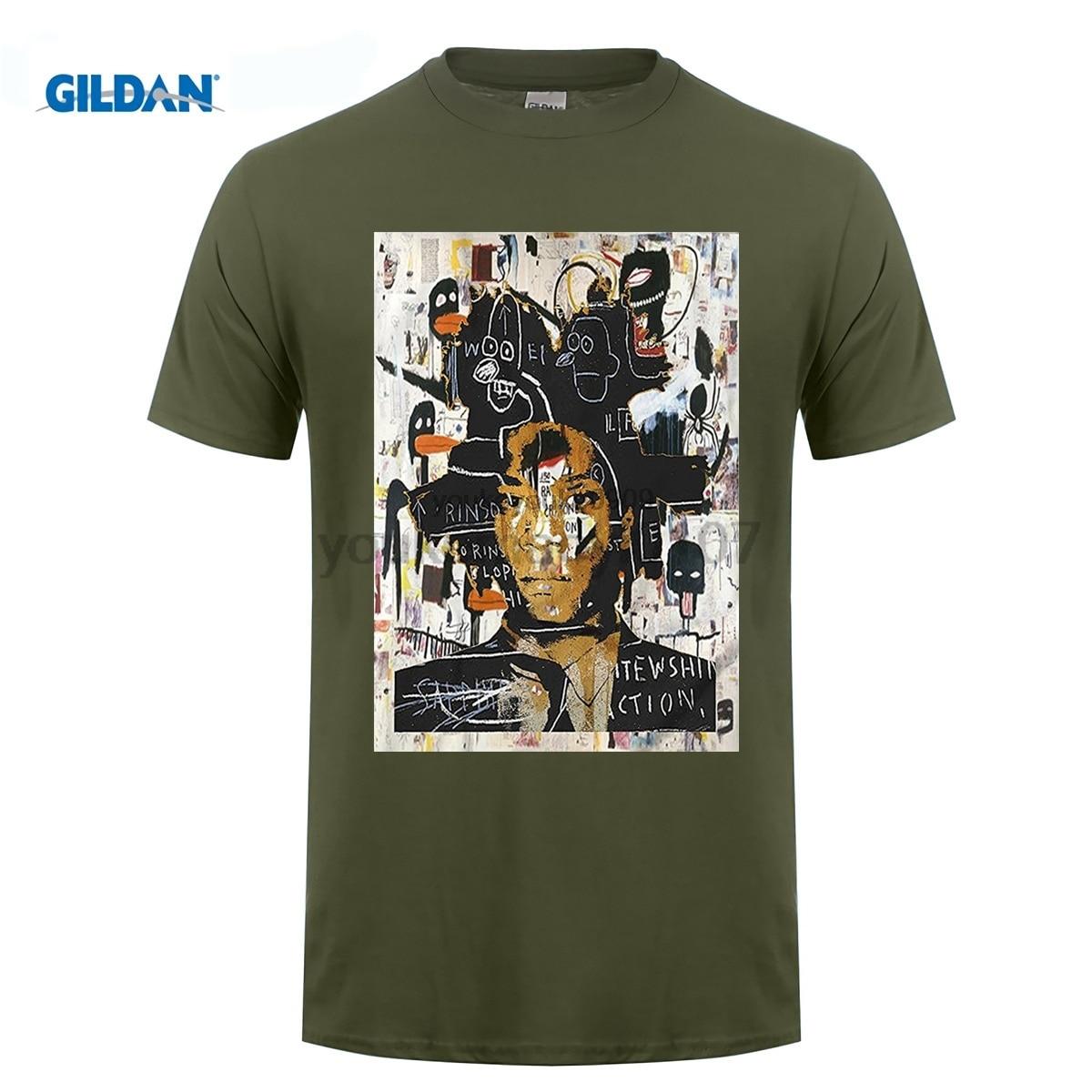 GILDAN New Arrival Gildan Crew Neck Short-Sleeve Tall Jean Michel Basquiat Self Portrait T Shirt
