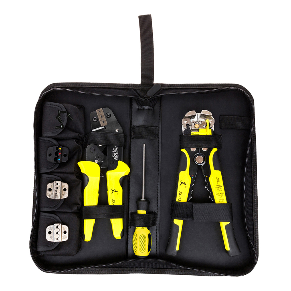 4 In 1 Wire Crimper Hand Tools Kit Engineering Ratchet Terminal Crimping Plier Wire Crimper + Wire Stripper+S2 Screwdiver newacalox wire stripper multifunction self adjustable terminal tool kit crimping plier multi wire crimper screwdiver