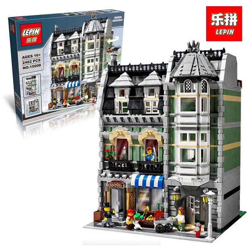 New Lepin 15008 2462Pcs City Street Green Grocer Model Building Kits Blocks Bricks Compatible Educational legoinglys 10185 toys lepin 15008 new city street green grocer model building blocks bricks toy for child boy gift compatitive funny kit 10185 2462pcs