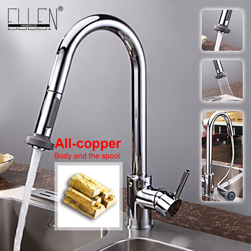 Kitchen Faucets Pull Out Kitchen Taps Single Hole Handle Swivel 360 Degree hot and cold Water Silver Mixer Tap EK89019 micoe pull style hot and cold water kitchen faucet mixer single handle single hole modern style chrome tap 360 swivel m hc103