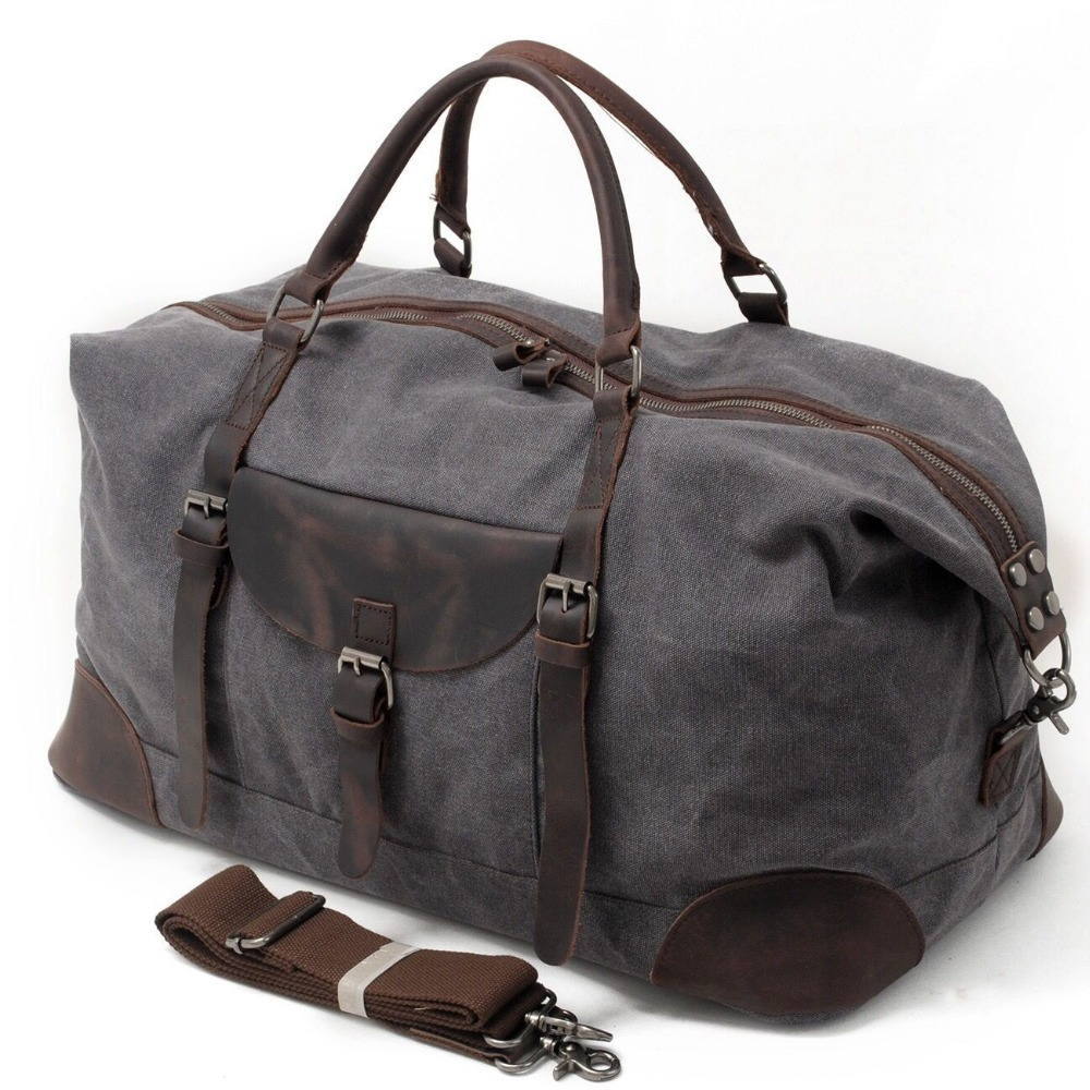 Men Travel Duffle Bags Tod-handle luggage Canvas Vintage Women bag Military Large Capacity Oilskin Leather Carry weekender Bag