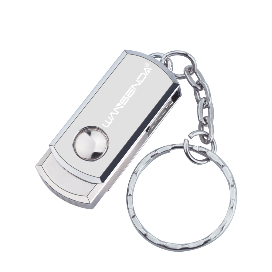 New usb 2.0 WANSENDA Metal Key Chain USB Flash Drive 32GB 64GB 128GB Pen Drive 8GB 16GB Pendrive Roation Design USB Memory Stick