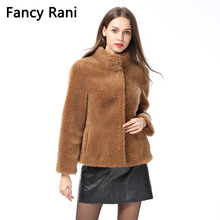Женское пальто из натурального овечьего меха, зимнее теплое модное пальто из натуральной овечьей шерсти мериноса, пальто из натурального овечьего меха