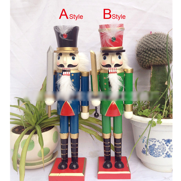 HT058 free shipping toy 36CM fine painted nutcracker, walnuts man novelty ornaments Christmas gift wooden painted crafts