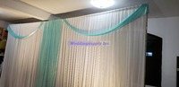 20ft Tiffany Blue Curtain Swag And 10ft*20ft Backdrop Ice Silk Fabric For Wedding Grand Event Party Banquet Decoration