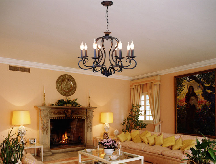 Black White Rustic Wrought Iron Chandelier E14 Candle