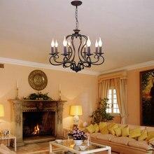Lámpara de hierro forjado rústico negro/blanco E14 candelabro negro Vintage antiguo para sala de estar 6/8 brazo