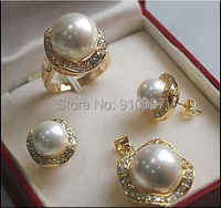 LHX54012>>>1Set AAA 10mm &14mm White South sea Shell Pearl Earrings Necklace Ring Set