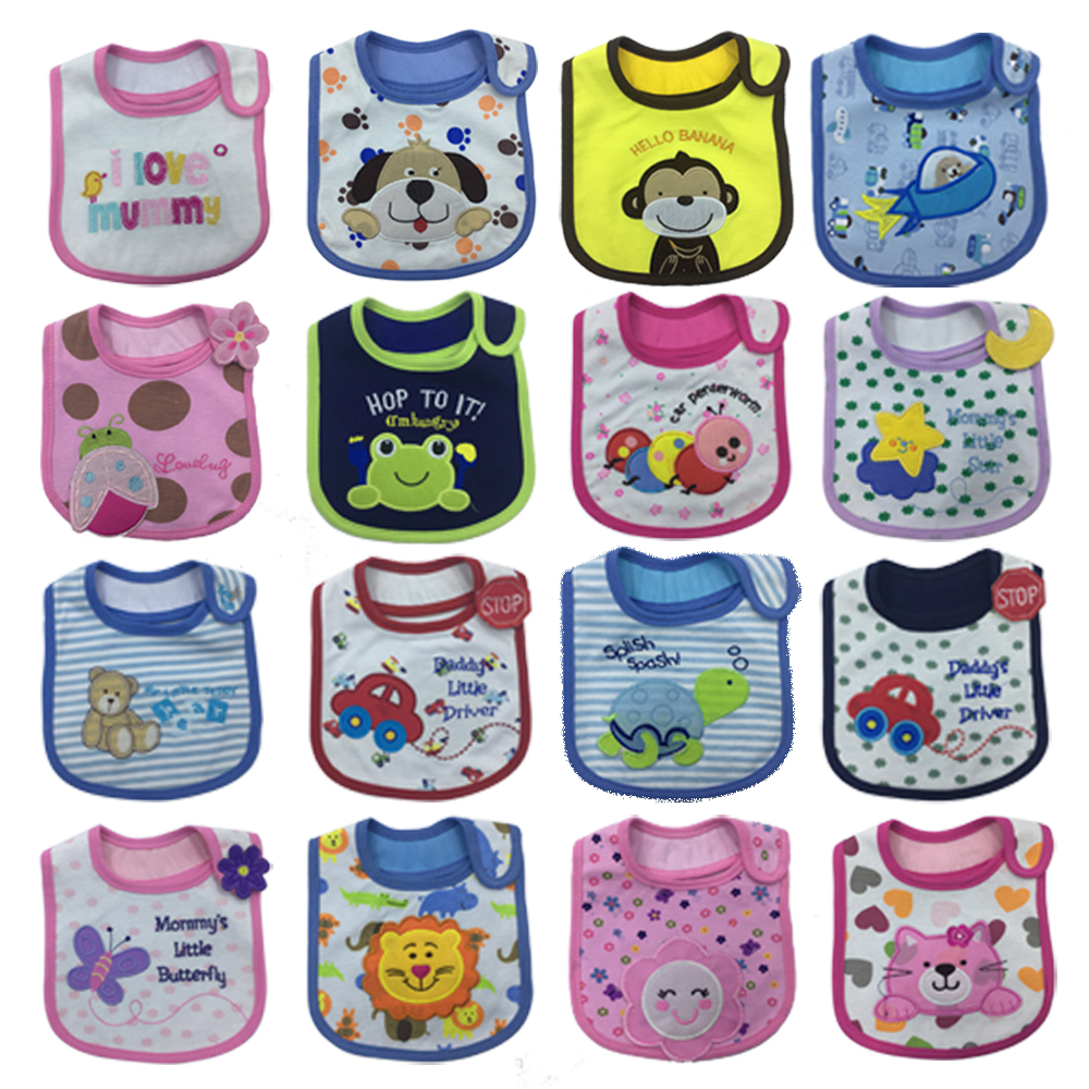 5pcs Bibs Baby Bib Bandana Baberos carter scarf embroidery cute cartoon waterproof Infant Burp Cloths