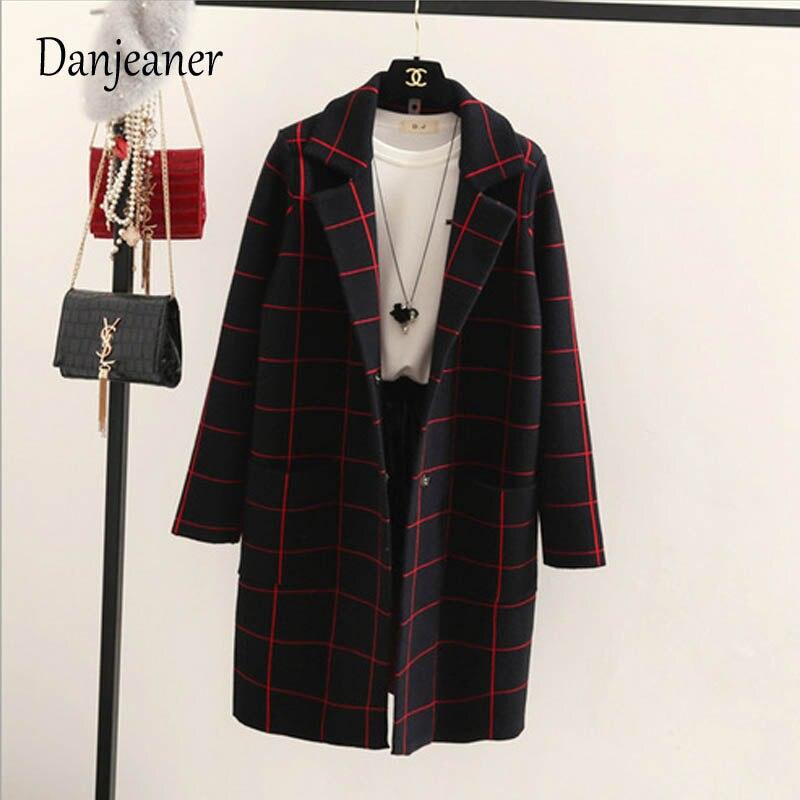 Danjeaner primavera otoño mujeres lana Trench coreano moda larga lana abrigo solo Breasted Delgado mujer Otoño Invierno lana abrigos - 4
