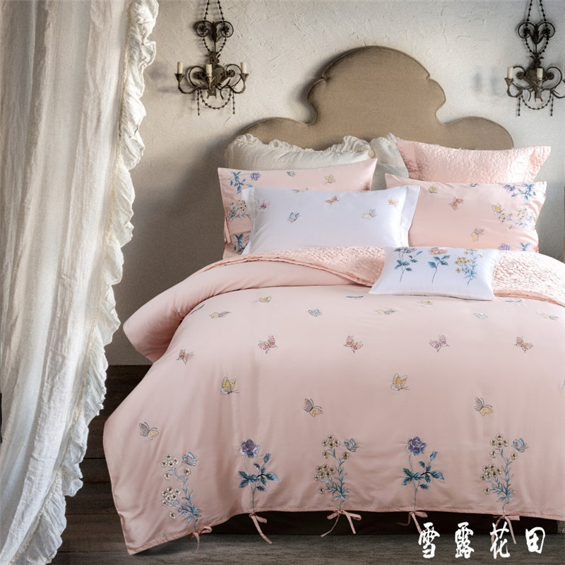 60S Long Staple Cotton Satin Bedding Set Butterfly Dreams And Flowers Embroidery Duvet Cover Bed Linen Bed sheet Pillowcase 4PCS60S Long Staple Cotton Satin Bedding Set Butterfly Dreams And Flowers Embroidery Duvet Cover Bed Linen Bed sheet Pillowcase 4PCS